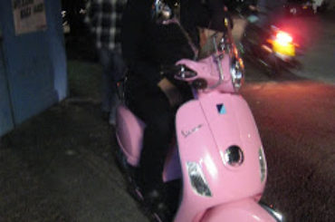 Roads traded in his Triumph for a pink Vespa….