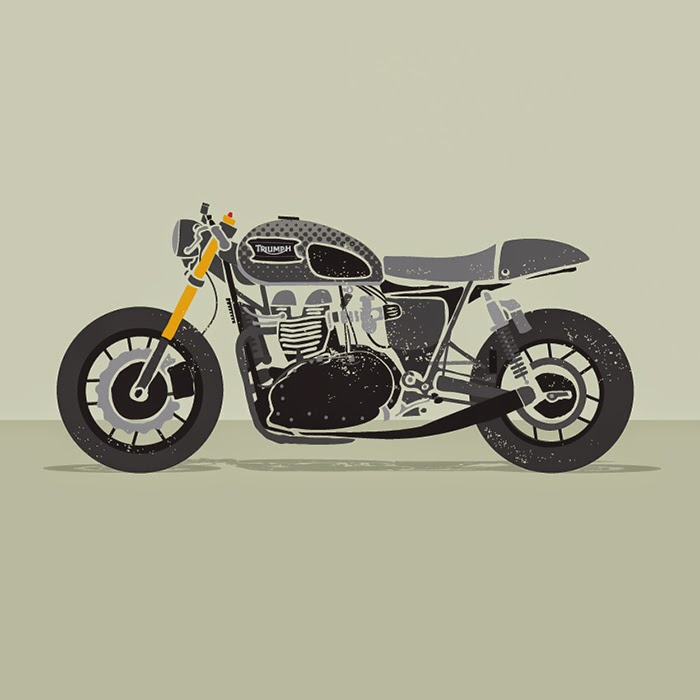 Cafe racer illustration, Bullitt OG