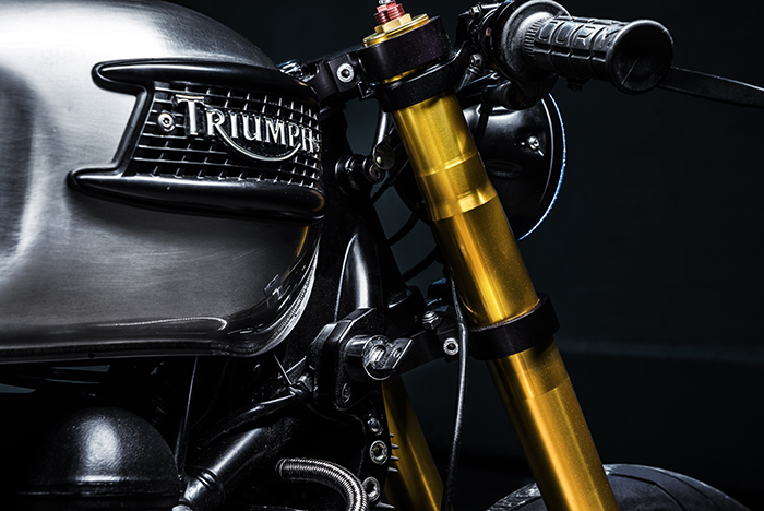 Triumph tank, raw steel, cafe raer