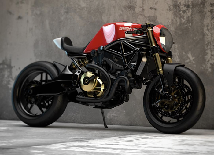Ziggy Moto, Ducati illustration, concept art, Monster 821, Ducati M821, cafe racer