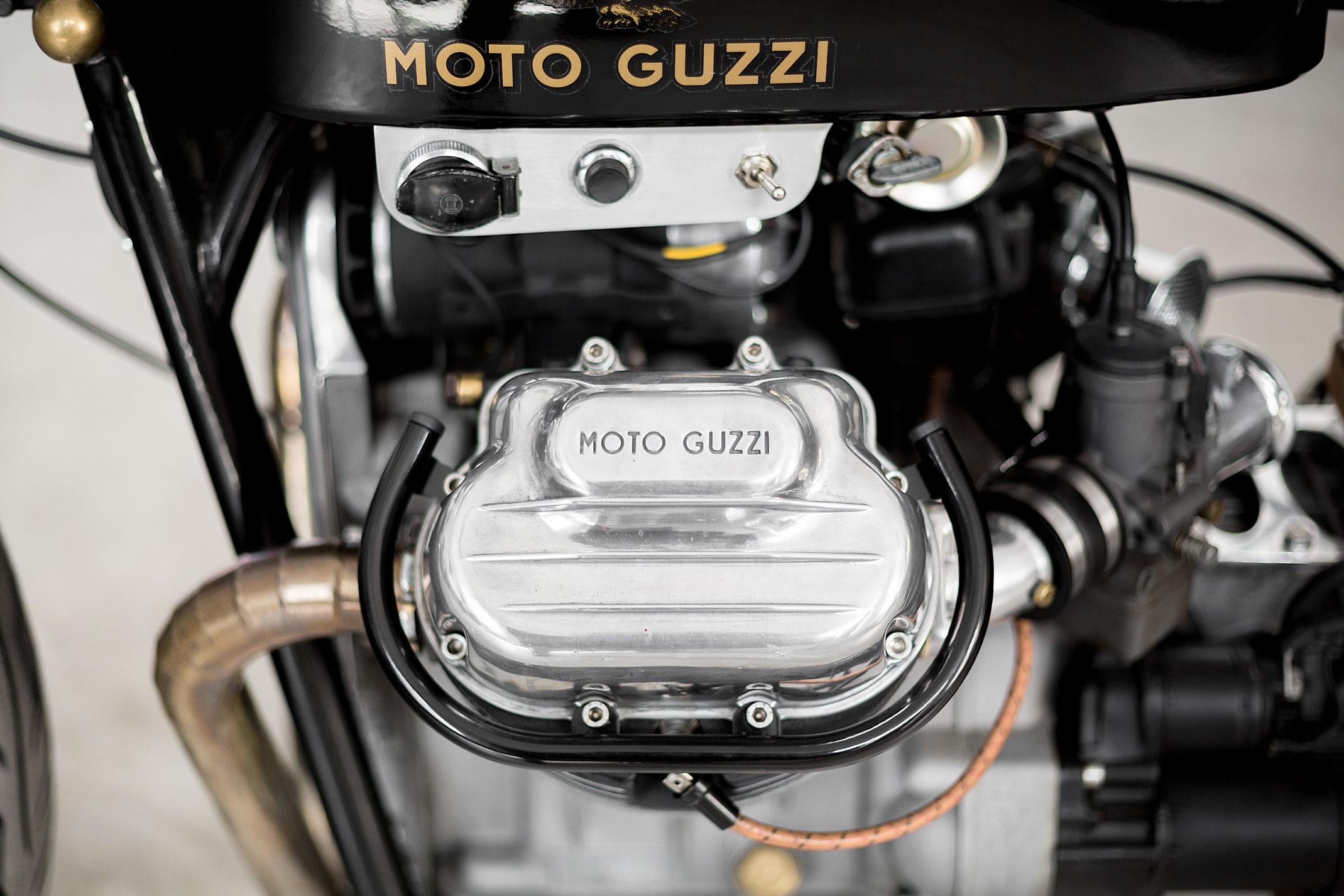 Route Fiere, vintage Moto Guzzi V7 engine