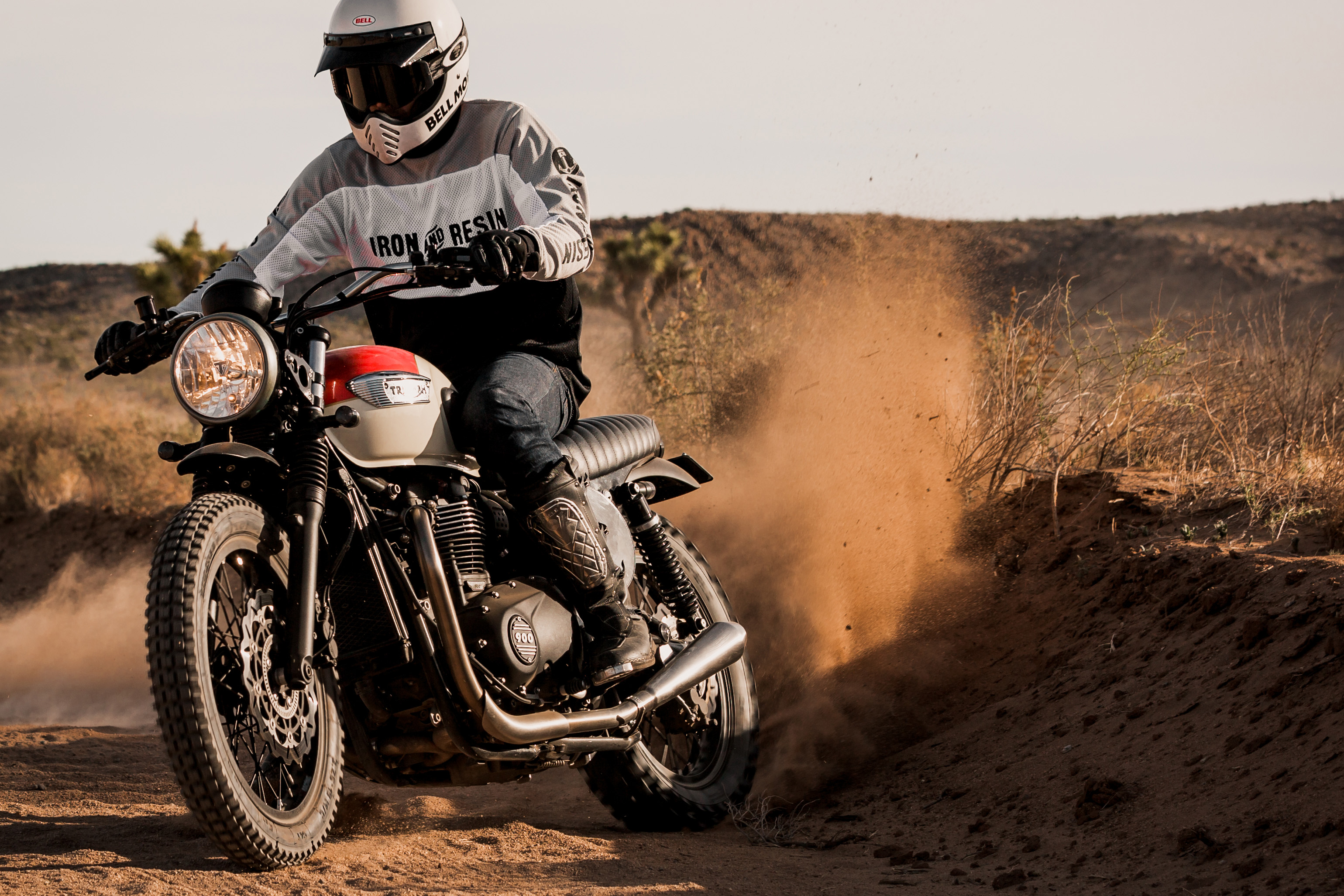 Triumph Street Twin Desert Sled in action