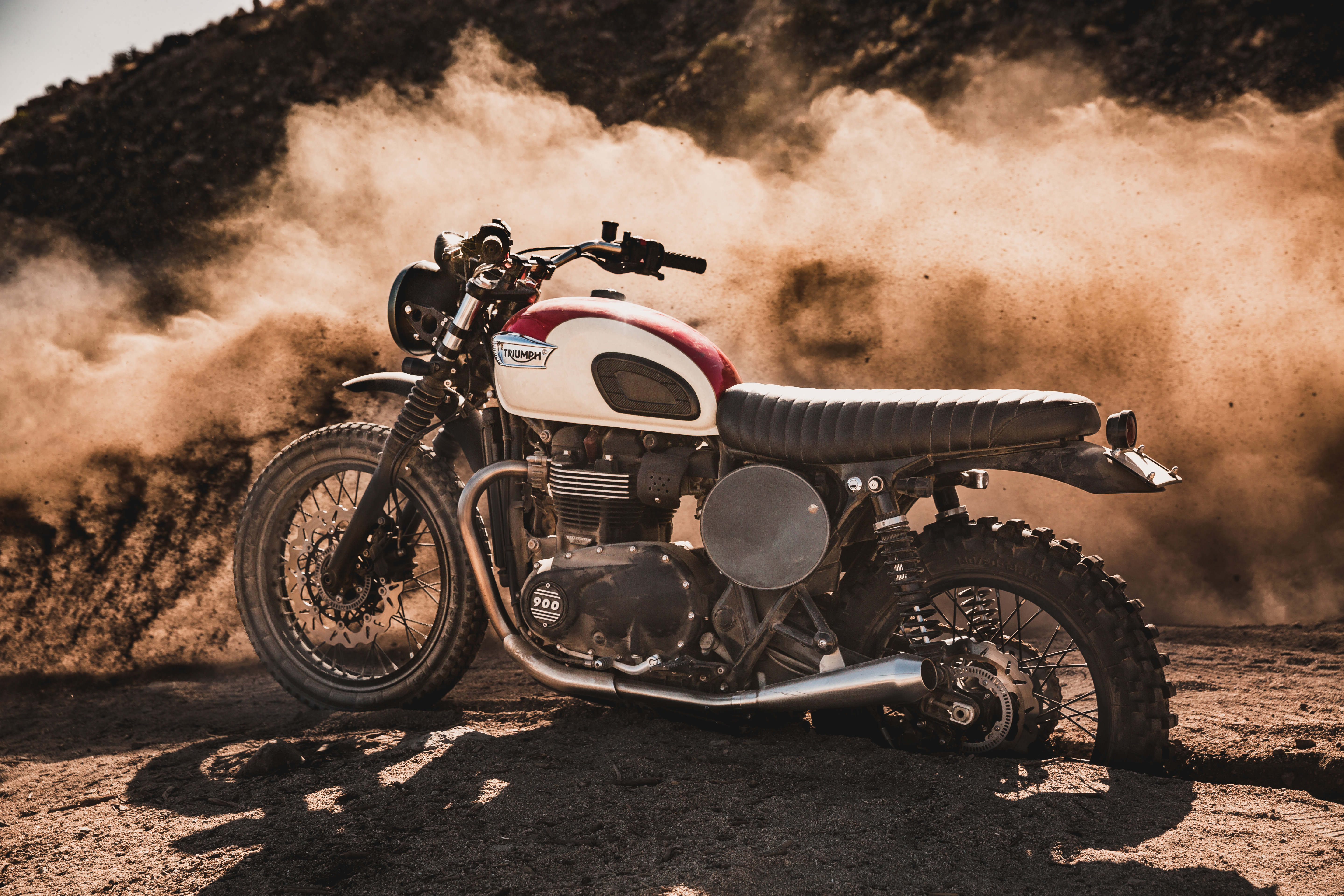 Triumph Street Twin Desert Sled at Joshua Tree