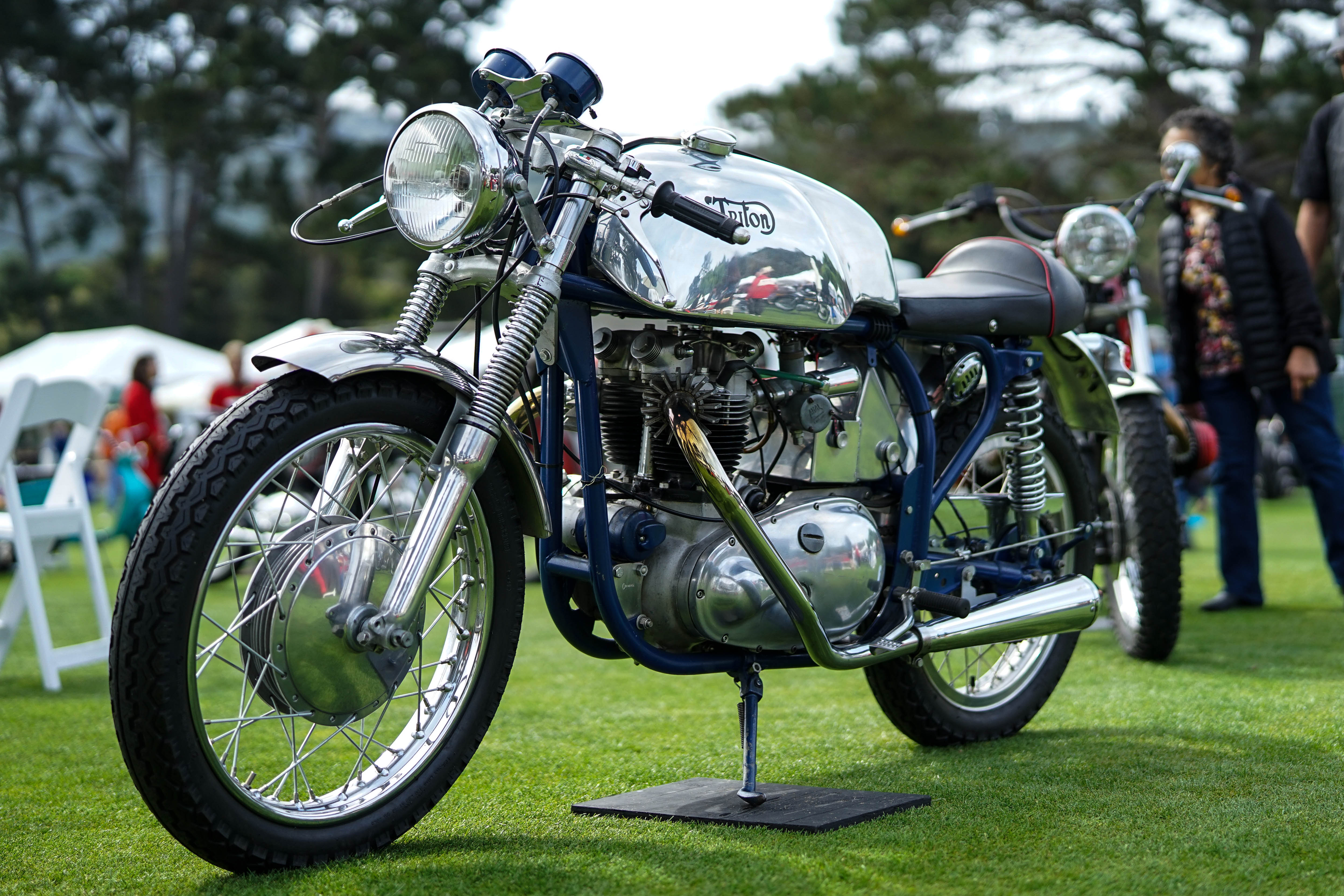 Vintage Triton cafe racer motorcycle