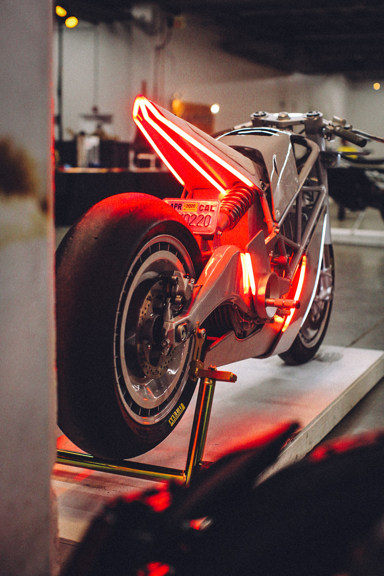 Futuristic tail on Hugo Eccles Zero XP at The One Motorcycle Show