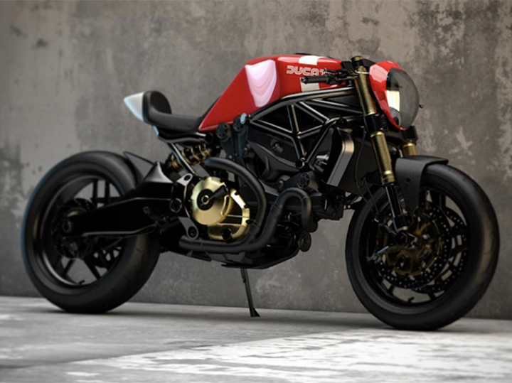 Ducati Monster 821 cafe racer concepts by Ziggy Moto